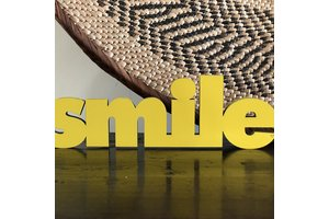 Wooden Quote, Smile, Yellow