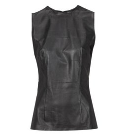 Sleeveless Lambs Leather Top Black