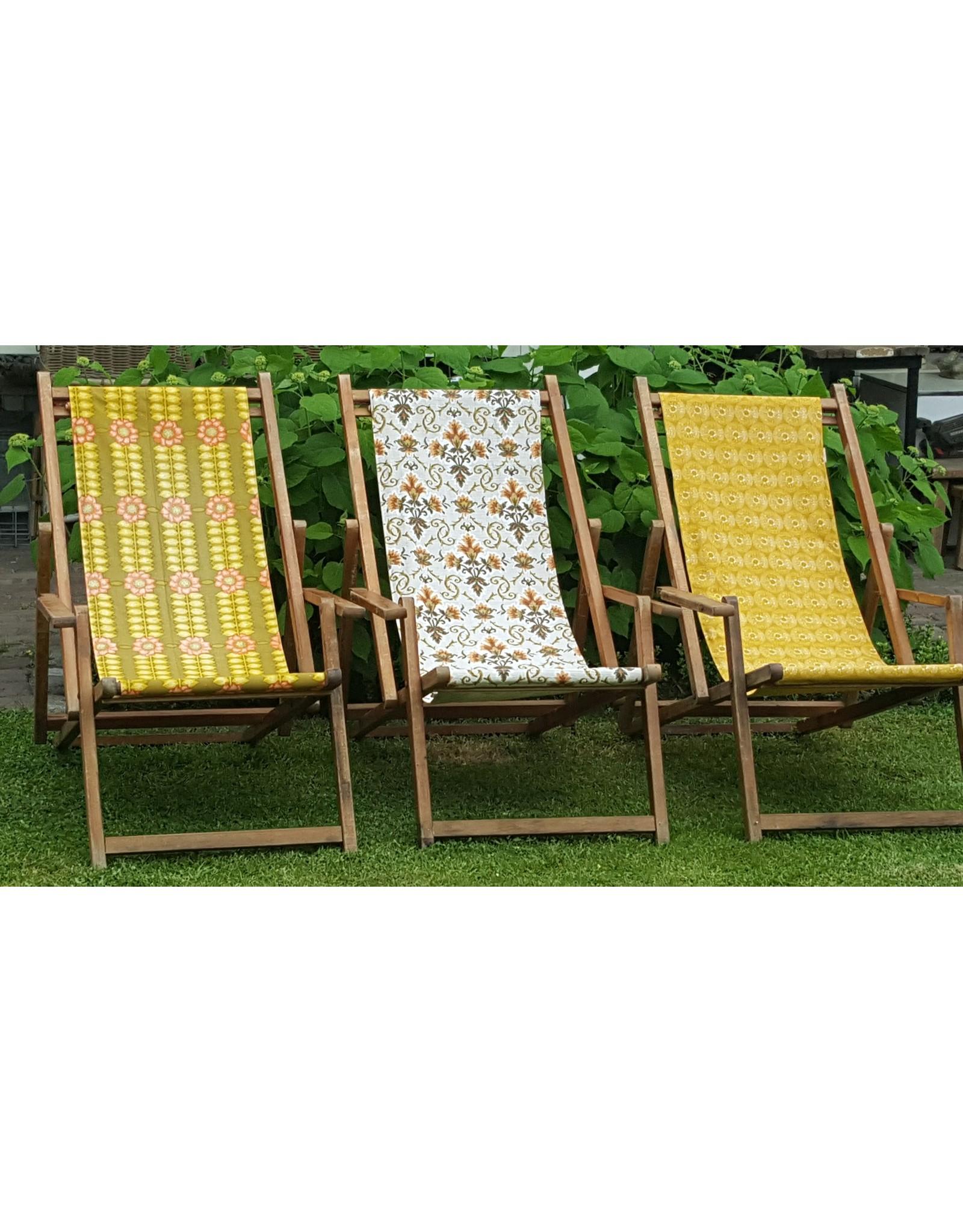 Guinevere Houten vintahge strandstoel Zandvoort met armleuningen