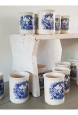 Ironstone English Tableware Mosterdpot met Hollands tafereel Engels gemerkt