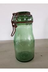 Vintage groene Franse weckpot