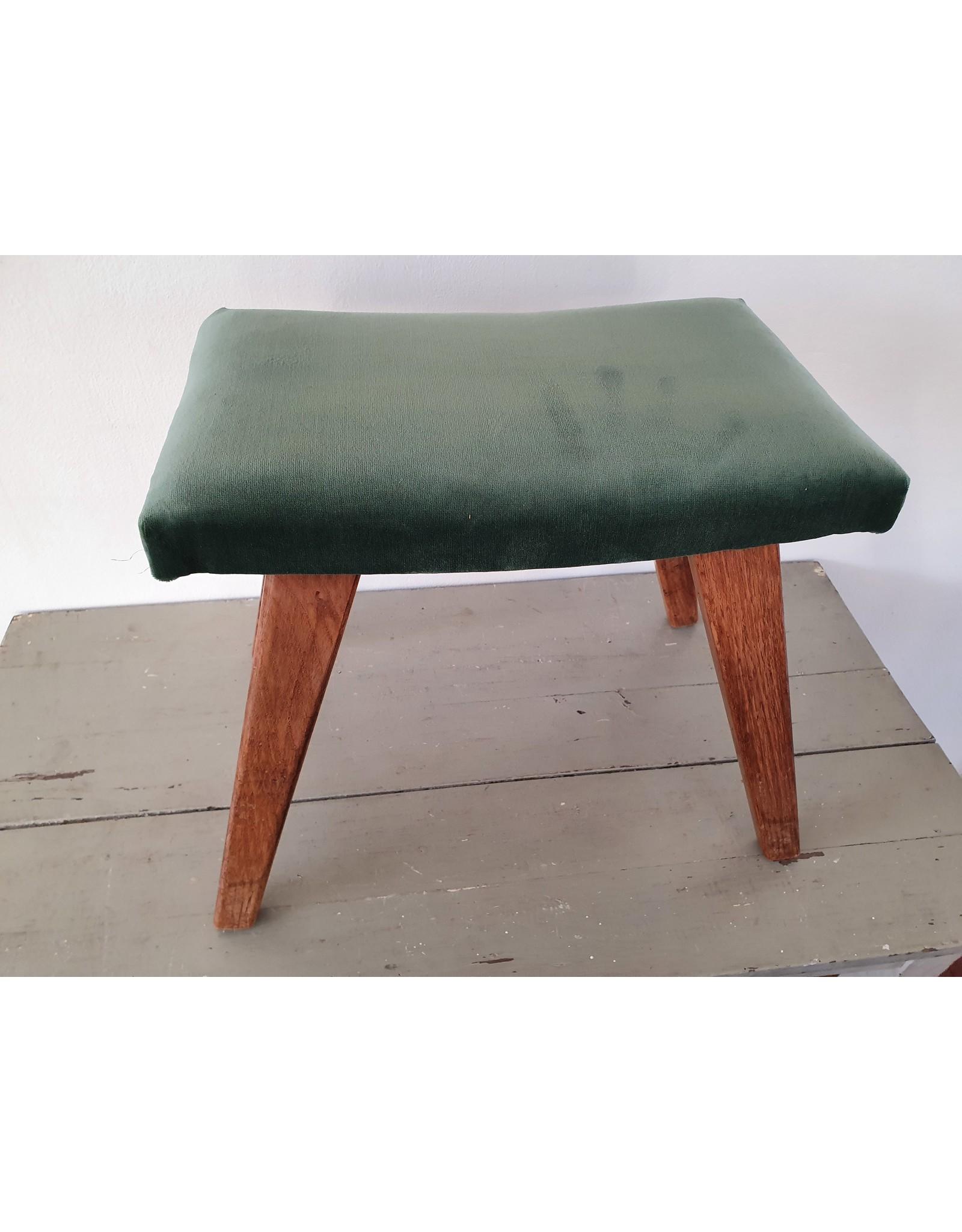 Guinevere Vintage voetenbankje velvet blauw/groen