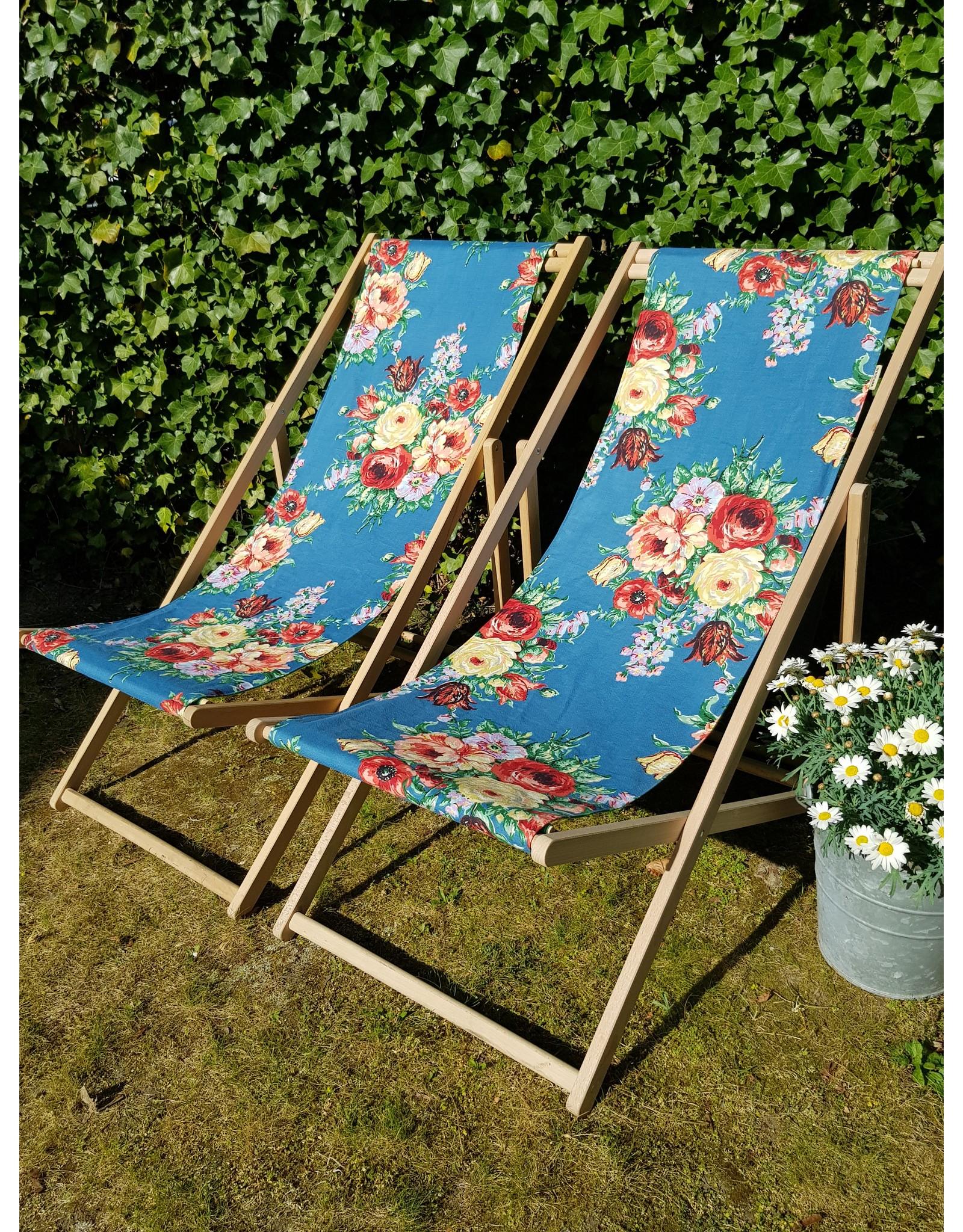 Guinevere Vintage strandstoel Brest petrol bloem