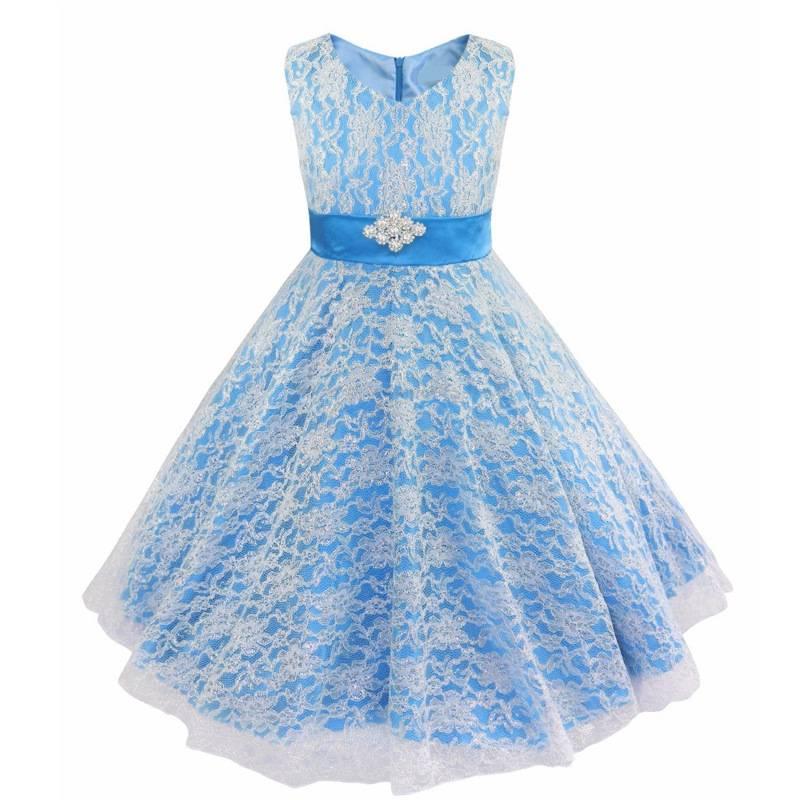 Meisjeskleding Meisjes Feestjurk Emma - blauw