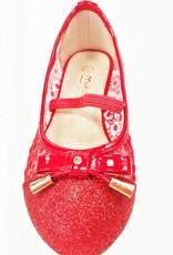 Meisjesschoenen Meisjesschoen - Ballerina's - doorzichtig - glitter - rood