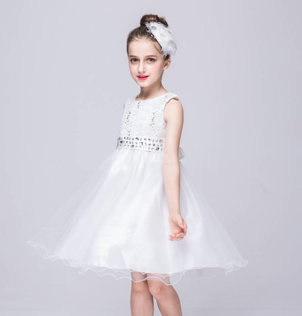 Meisjeskleding Meisjes Feestjurk Merlijn - wit
