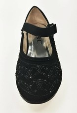 Meisjesschoenen Meisjesschoen - Spaanse schoentjes met hakje en strass steentjes - zwart