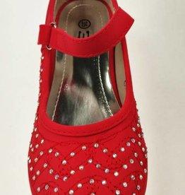 Meisjesschoenen Spaanse schoentjes met hakje en strass steentjes - rood
