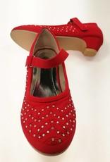 Meisjesschoenen Meisjesschoen - Spaanse schoentjes met hakje en strass steentjes - rood