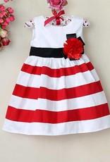Meisjeskleding Meisjes Feestjurk Zoe - wit / rood gestreept