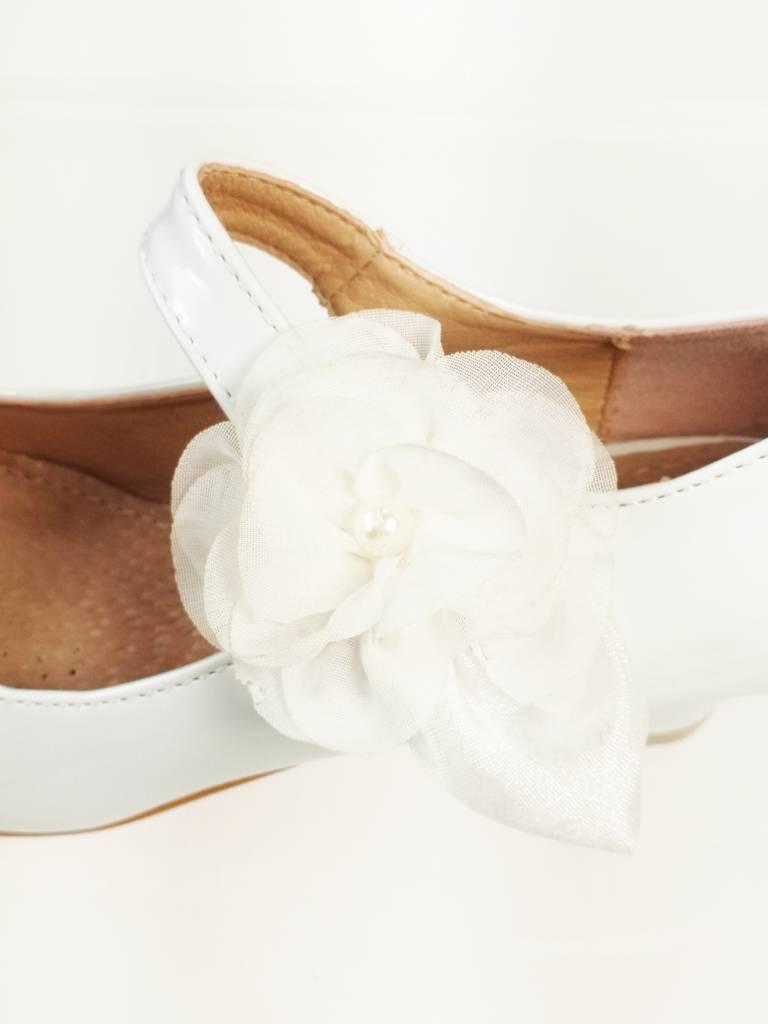 Meisjesschoenen Meisjesschoen - Spaanse schoentjes - lak - wit - bloem