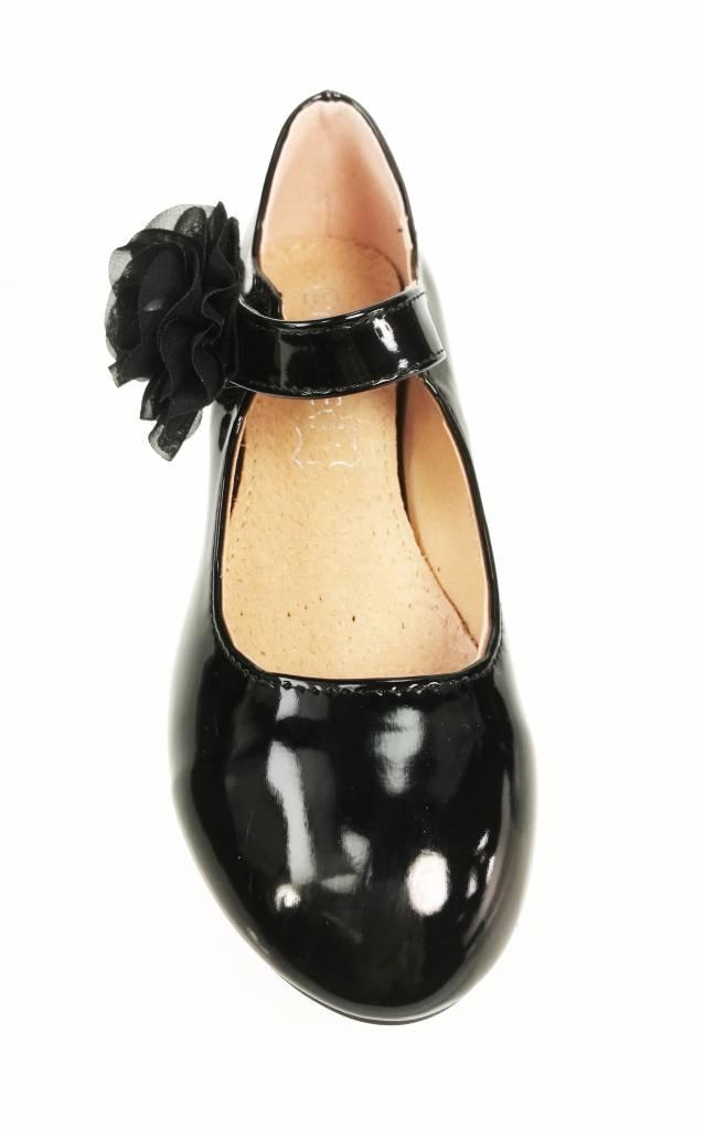 Meisjesschoenen Meisjesschoen - Pumps - lak - zwart - bloem