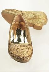 Meisjesschoenen Meisjesschoen - Pumps met hakje en strass steentjes - goud
