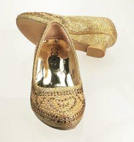 Meisjesschoenen Pumps met hakje en strass steentjes - goud