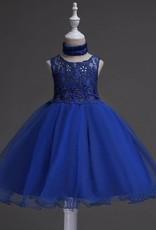 Meisjeskleding Meisjes Feestjurk Jill - donkerblauw