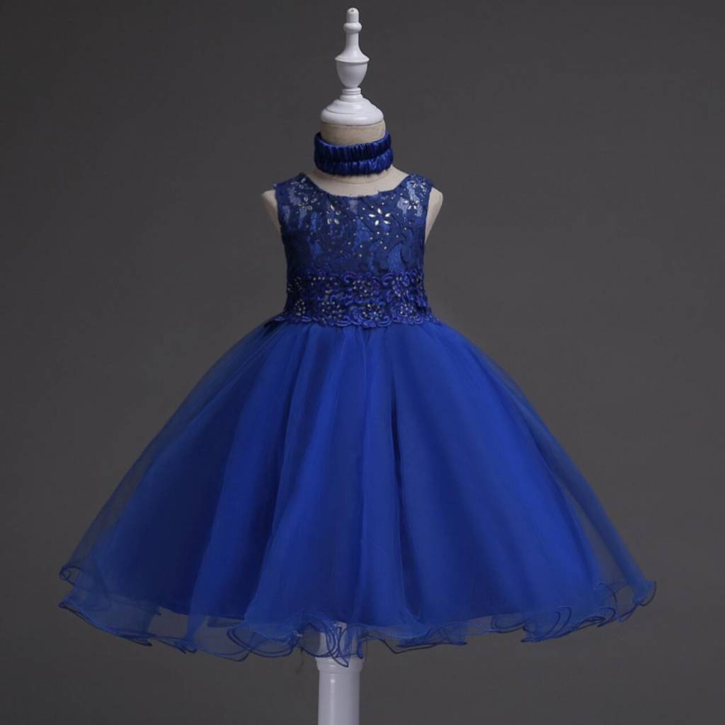 Meisjeskleding Meisjes Feestjurk Jill - blauw (koningsblauw)