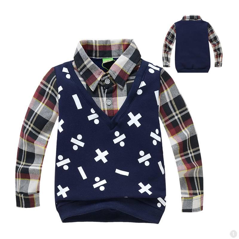 Jongenskleding Jongens Sweater Vest met lange mouwen en wiskundige symbolen - blauw