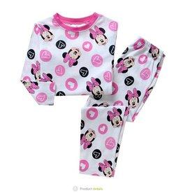 Meisjespyjama's Minnie Mouse en hartjes Pyjama - wit / roze