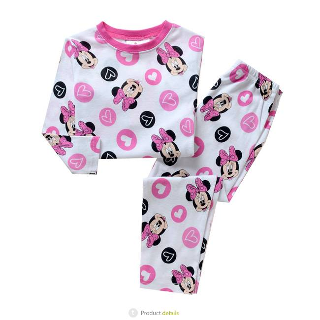 Meisjespyjama's Minnie Mouse en hartjes Meisjes Pyjama - wit / roze