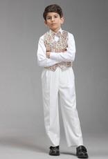 Jongenskleding Jongenskostuum Thomas (zonder jasje) - wit / bruin