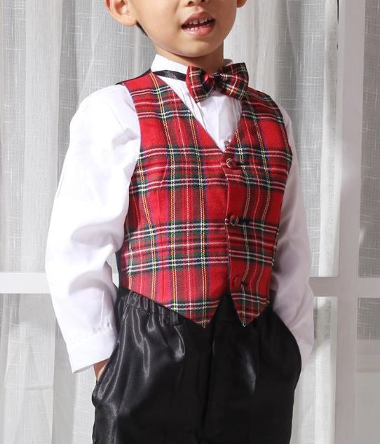 Jongenskleding Jongenskostuum Michael (zonder jasje) - zwart / rood