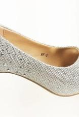 Meisjesschoenen Meisjesschoen - Pumps met strass steentjes - zilver