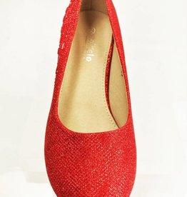 Meisjesschoenen Pumps - glitter - rood
