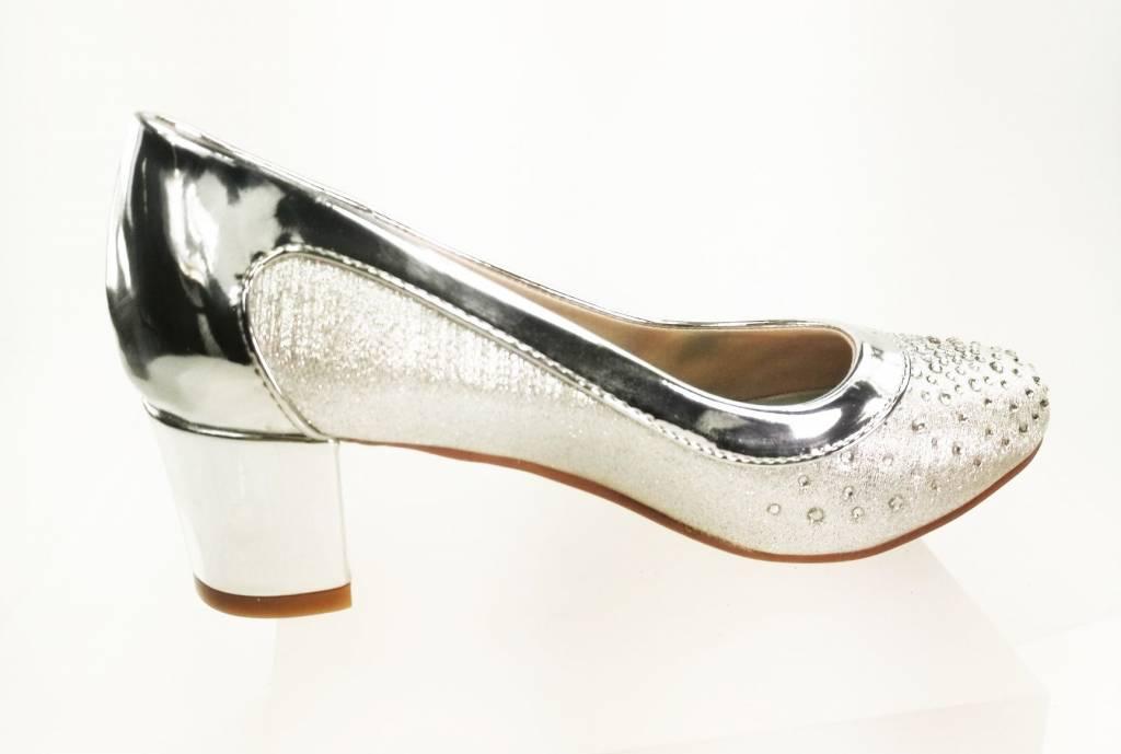 Meisjesschoenen Meisjesschoen - Pumps met blokhak en strass steentjes - zilver