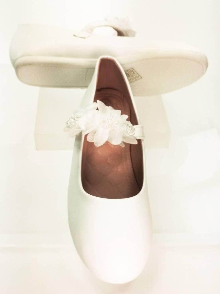 Meisjesschoenen Meisjesschoen - Ballerina's - lak - wit - bloem