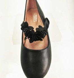 Meisjesschoenen Ballerina's - lak - zwart - bloem