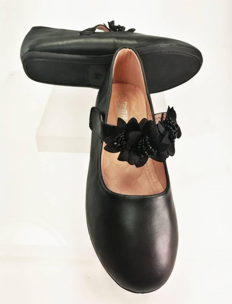 Meisjesschoenen Meisjesschoen - Ballerina's - lak - zwart - bloem