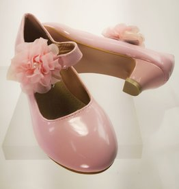 Meisjesschoenen Pumps - lak - roze - bloem