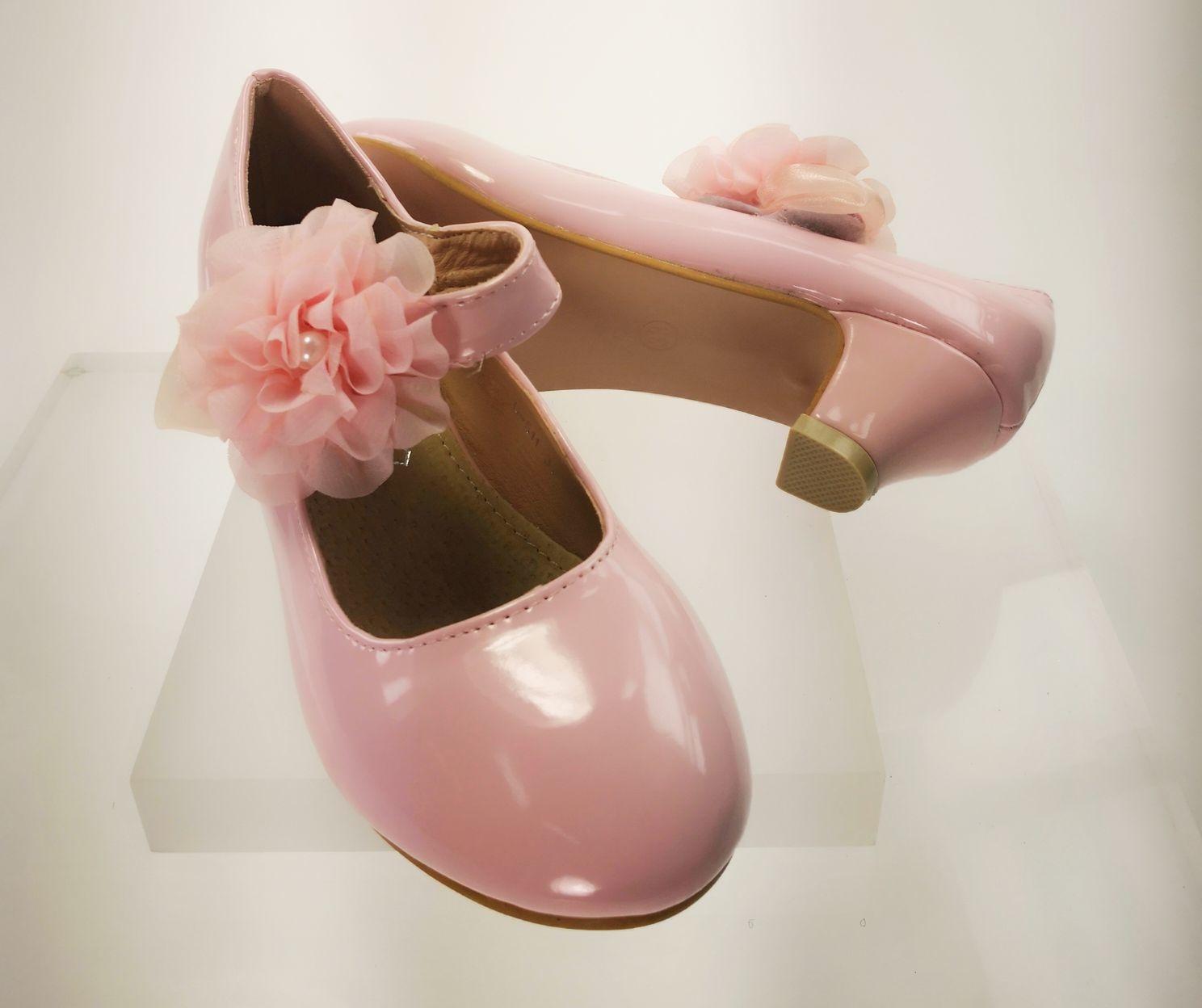 Meisjesschoenen Meisjesschoen - Pumps - lak - roze - bloem