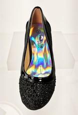 Meisjesschoenen Meisjesschoen - Pumps met blokhak en strass steentjes - zwart