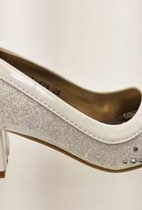 Meisjesschoenen Meisjesschoen - Pumps met blokhak en strass steentjes - wit