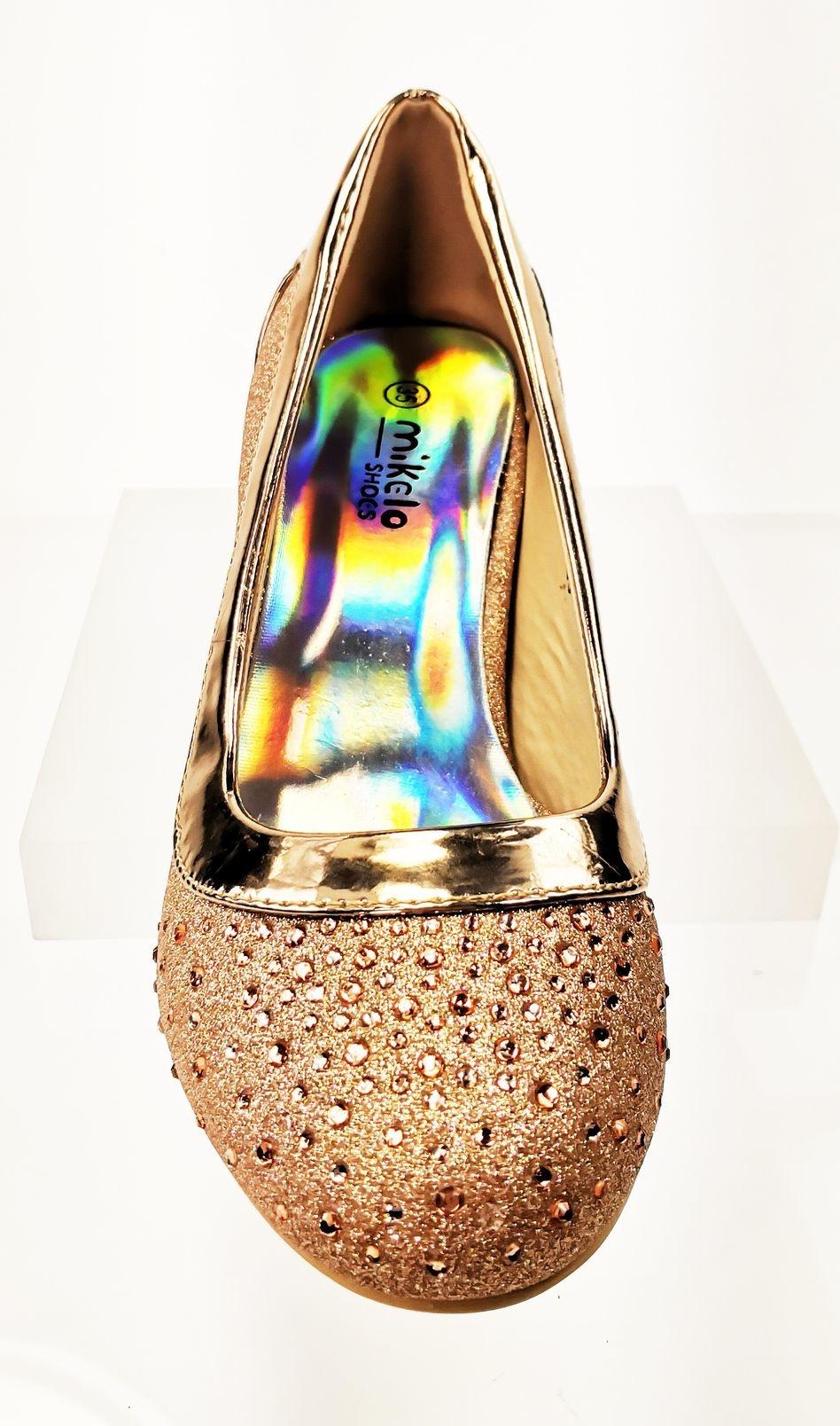 Meisjesschoenen Meisjesschoen - Pumps met blokhak en strass steentjes - champagne / roségoud