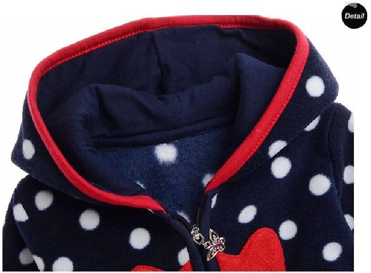 Babykleding Meisjes Boxpakje met capuchon - blauw met witte stippen