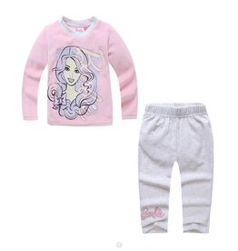 Meisjespyjama's Barbie Pyjama - fleece - roze / grijs