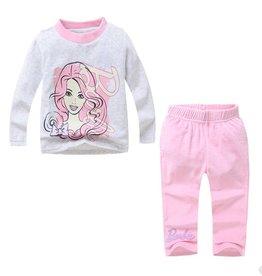 Meisjespyjama's Barbie Pyjama - fleece - grijs / roze