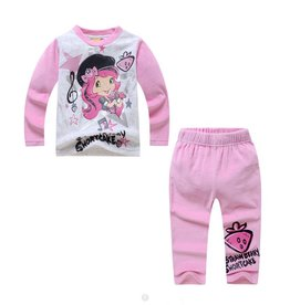 Meisjespyjama's Strawberry Shortcake Pyjama - fleece - grijs / lichtroze