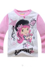 Meisjespyjama's Strawberry Shortcake Meisjes Pyjama - fleece - grijs / lichtroze