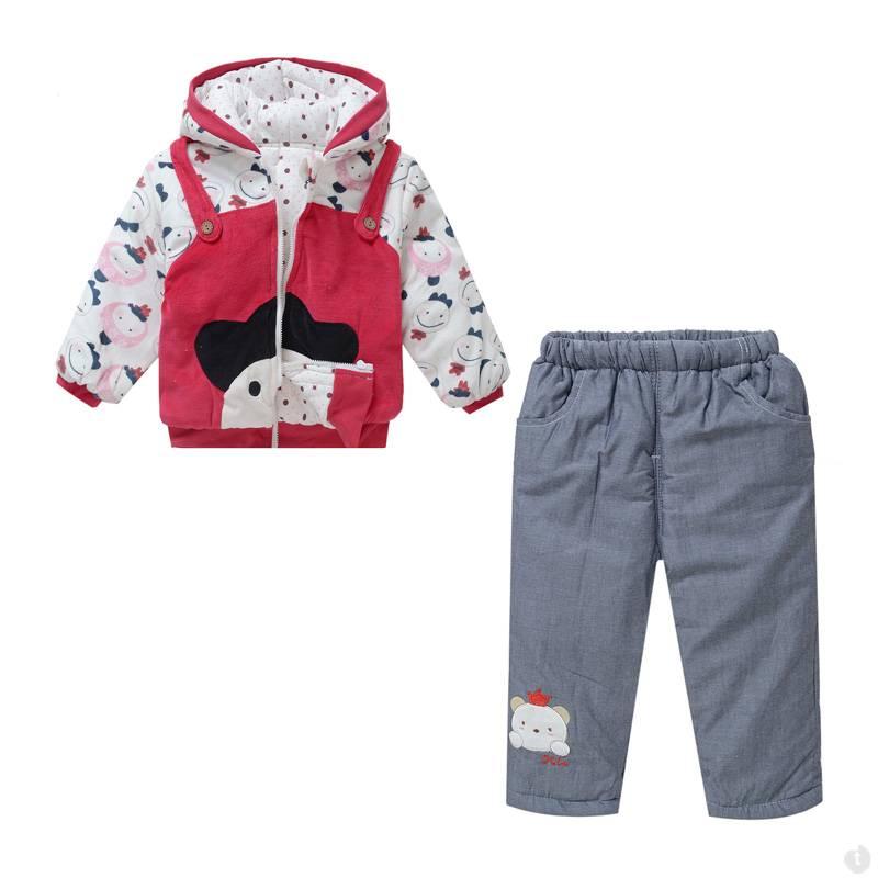 Babykleding Poppetjes Meisjes Boxpakje met capuchon - rood / grijs