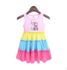 Meisjeskleding Frozen Jurk - roze / geel / blauw