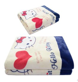 Kinderdekens Hello Kitty Fleece Kinderdeken 150x220 cm - rood / wit / blauw