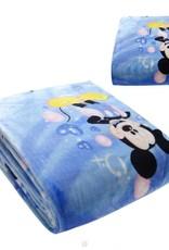 Kinderdekens Mickey Mouse & Minnie Mouse Fleece Kinderdeken 150x220 cm - blauw