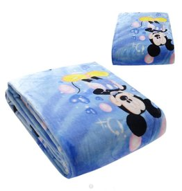 Kinderdekens Mickey Mouse & Minnie Mouse Fleece Kinderdeken 150x220 cm - blauw