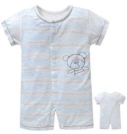 Babykleding Beertje Boxpakje / Romper - blauw / grijs gestreept