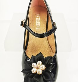 Meisjesschoenen Pumps - lak - zwart - parel bloem