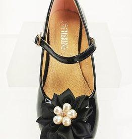 Meisjesschoenen Spaanse schoentjes - lak - zwart - parel bloem