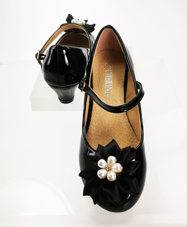 Meisjesschoenen Meisjesschoen - Spaanse schoentjes - lak - zwart - parel bloem